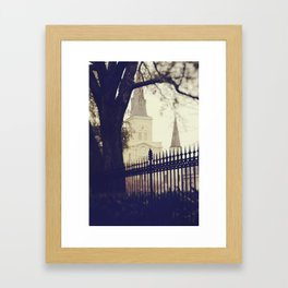 St Louis Cathedral through the trees Framed Art Print