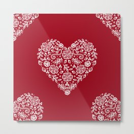 Red Heart Lace Flowers Metal Print