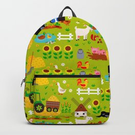 Farm Life Barn Animals Tractor Green Pattern Backpack