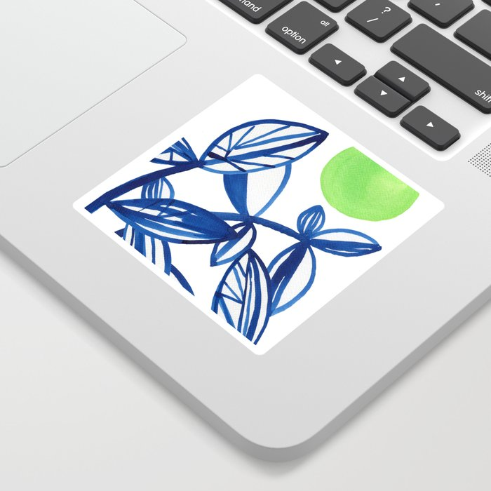 Navy blue and lime green abstract leaves Sticker
