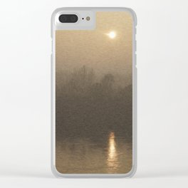 Impressionist Landscape Winter River with Fog and Sun Clear iPhone Case