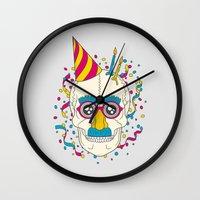 happy birthday Wall Clocks featuring Happy Birthday by Quick Brown Fox