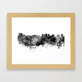 Halifax skyline in black watercolor on white background Framed Art Print