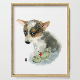 little dog with voodoo doll begging for love Serving Tray