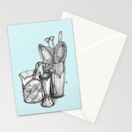 Bartender in turquoise Stationery Cards