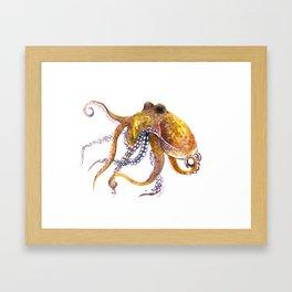 Octopus, orange red gold underwater scene octopus lover design, beach Framed Art Print
