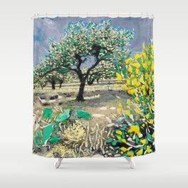 Olive Tree & Gorse Bush Shower Curtain