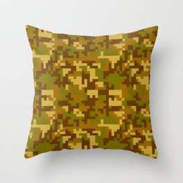 Green and Yellow Desert Army Camo pattern Throw Pillow