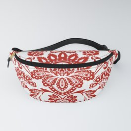 Damask in red Fanny Pack