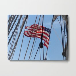 flag flying above USS Constitution Metal Print