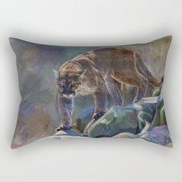 The Mountain King - Cougar Wildlife Art Rectangular Pillow