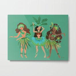 Luau Girls on Mint Metal Print