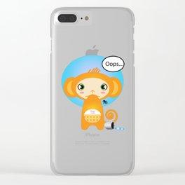 Oopsie Monkey Clear iPhone Case
