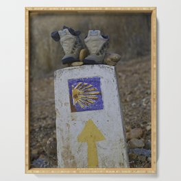 Camino Route Marker and Old Boots Serving Tray