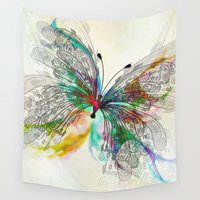 butterfly Wall Tapestries featuring Butterfly by Klara Acel