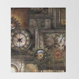 Steampunk, wonderful clockwork with gears Throw Blanket