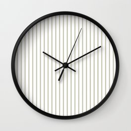 Silver Moss Pinstripe on White Wall Clock