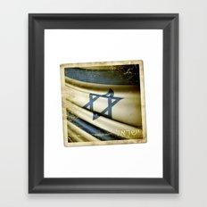 Israel grunge sticker flag Framed Art Print
