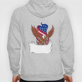American Eagle Clutching Towing J Hook Flag Unfurled Drawing Hoody