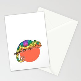 Patchwork Chameleon on Tribal Rod Stationery Cards
