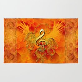 Clef with flowers Rug