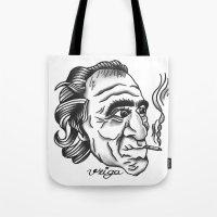 bukowski Tote Bags featuring Bukowski by @VEIGATATTOOER