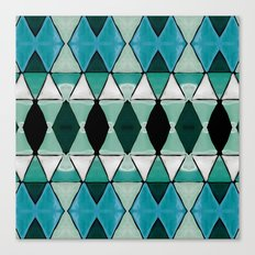 Art Deco Triangles Blue Canvas Print
