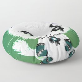 Punky Persian - Dark Green Floor Pillow