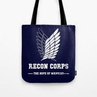 shingeki no kyojin Tote Bags featuring Recon Corps by rKrovs