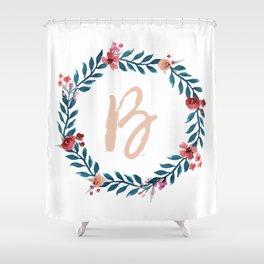 Watercolor Monogram Wreath Letter B Shower Curtain