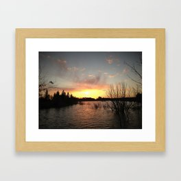 Sunset Over the Pond Framed Art Print
