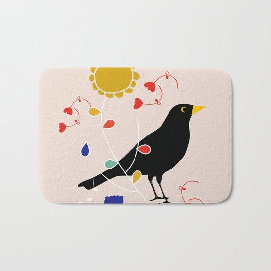 Black Bird Cream Bath Mat