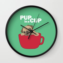 Pup in a Cup Wall Clock