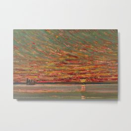 Red Skies at Night - Sunset nautical coastline ocean landscape painting by Childe Hassam Metal Print