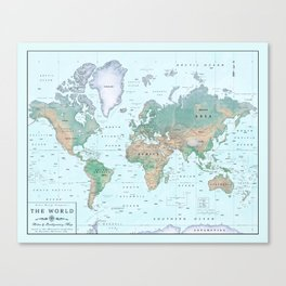 The World [Atlas] Shaded Relief Map Canvas Print