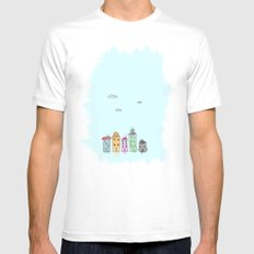 Painted Houses MEDIUM White Mens Fitted Tee