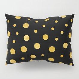 Elegant polka dots - Black Gold Pillow Sham