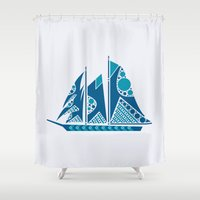 sailboat Shower Curtains featuring Sailboat by Hinterlund