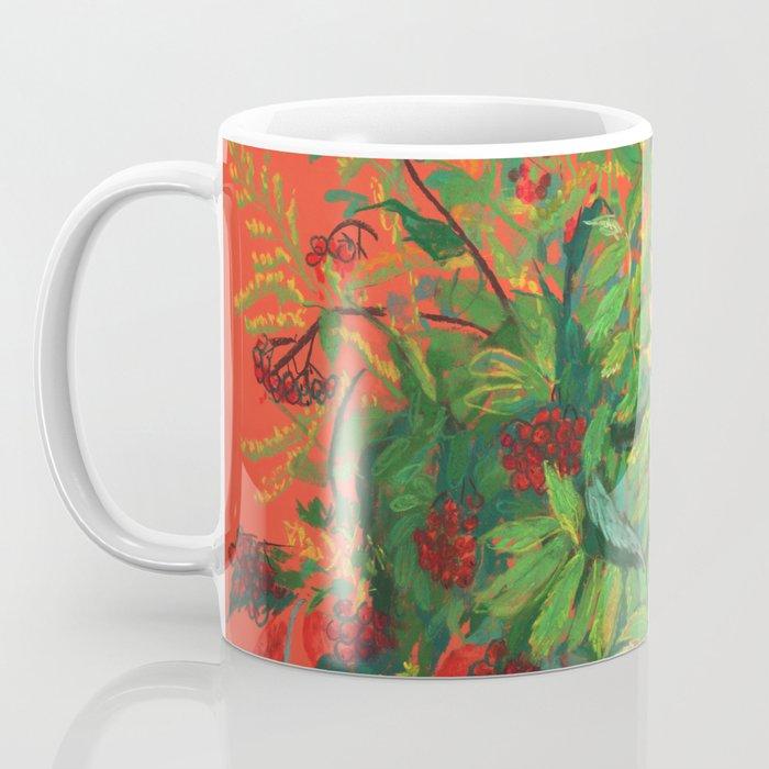 Autumn Floral, Orange an Green Coffee Mug