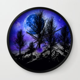 NEBULA STARS MOON BLACK TREES MOUNTAINS VIOLET BLUE Wall Clock