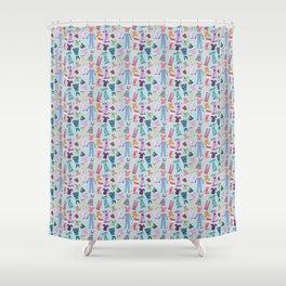 Dress Papercut Pattern - blue Shower Curtain