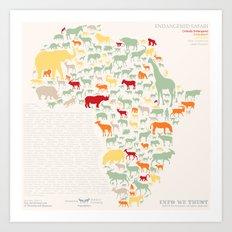 Endangered Safari - with animal names Art Print