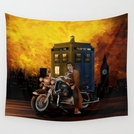 10th Doctor who with Big Motorcycle Wall Tapestry