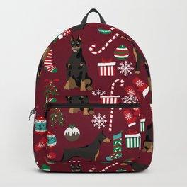 Doberman Pinscher christmas holiday pet pattern dog portrait dog breeds Backpack