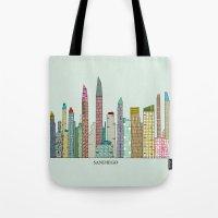 san diego Tote Bags featuring San Diego skyline  by bri.buckley