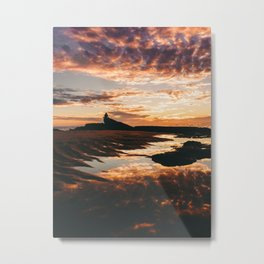 Reflective Water Landscape Cloudy Sky Sunlight After Rain Metal Print