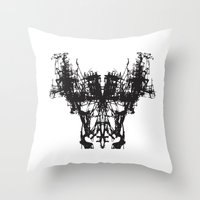 mask Throw Pillows featuring MASK by kartalpaf