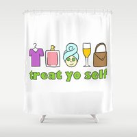 treat yo self Shower Curtains featuring Treat Yo Self Doodles by CozyReverie
