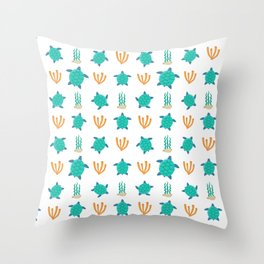 Cute turquoise orange turtle nautical coral reef floral Throw Pillow