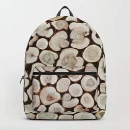 Background of wooden slices tree Backpack